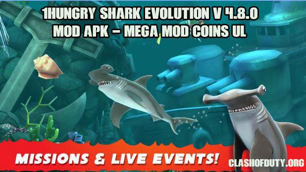 Hungry Shark Evolution v 4.9.0 Mod Apk - Mega Mod Coins UL